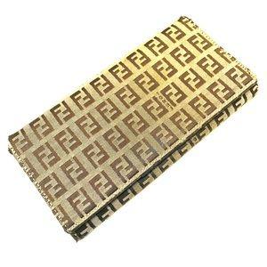 Fendi Zucca Brown/Tan Canvas & Leather Long Wallet